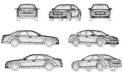 Vector drawing with wireframe design of luxury car - business class, sleek and aerodynamic design. Front, rear, side and axonometric view. Three-dimensional polygonal design. Isolated objects on white background.