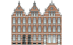 Vector illustration of classic high-rise houses from Amsterdam, Netherlands. Dutch city houses of the Renaissance epoch. The front walls of the buildings end with beautiful gables. Visible brickwork with shaped fugues, horizontal friezes and beautiful woodwork. Colored architectural drawing.
