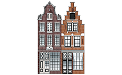 Vector illustration of two Dutch Renaissance canal houses. The Netherlands city houses have a beautiful gables, visible brickwork with shaped fugues, horizontal friezes and beautiful woodwork. Color architectural facade. Front view with all details.