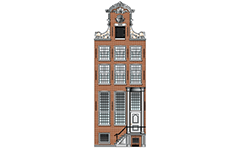 Vector illustration of Netherland Renaissance canal house with exterior stairs and beautiful gable. Architectural facade with high first floor. High-quality color graphic.