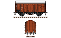 German covered goods wagon with sliding door and two ventilation flaps per side. These boxcars were used widely in German rail service to transport of goods and animals between 1933-1945. During the WW II were used from each military train for carriage of soldiers, supplies and deported people to the concentration camps in Germany.