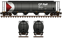 Vector illustration with side and front view of cylindrical hopper car for carriage of grain cargo. The shape of interior bay allows unloading by means of gravity. Technical parameters, logo of CPR company, inscriptions, instructions for safe handling, stairs and hand brake.  EDITORIAL USE