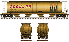 "Vector illustration with side and front view of covered hopper car for carriage of grain cargo on long distances used by American grain company Scoular. Details - all technical parameters, logo ""corn"" of company, inscriptions, instructions for safe handling, stairs and hand brake. EDITORIAL USE"