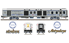 "Vector illustration with side and front view of AC 3 tier car ""Linke Hofmann Busch"" in factory gray livery by Indian Railways. Details - CBC ""H"" type tight lock coupler, FIAT bogies, intermediate tank bio toilets, brake equipment, battery box, electrical cubical, ventilation and destination board."