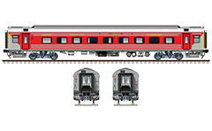 "Vector illustration with side and front view of Air-conditioned chair coach LHB in factory gray livery by Indian Railways. Details - CBC ""H"" type tight lock coupler, FIAT bogies, intermediate tank bio toilets, brake equipment, battery box, electrical cubical, ventilation and destination board."