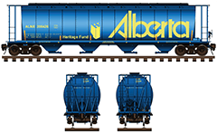Vector illustration with side and front view of cylindrical covered hopper car in blue livery for carriage of grain cargo. The shape of interior bay allows unloading by means of gravity. Details - Alberta logo, all technical inscriptions, instructions for safe handling and hand brake. EDITORIAL USE