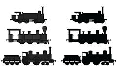 Vector illustration with French steam locomotives suitable for web design. Drawing and silhouette with side view of engines. Isolated objects over white background.
