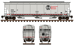 "Vector illustration with side and front view of cylindrical covered hopper car by SOO Pacific Railway for carriage of grain cargo on long distances. High-quality graphic with all technical parameters, ""beaver"" black logo, inscriptions, instructions for safe handling and hand brake. EDITORIAL USE"