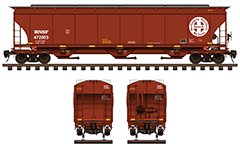 Vector illustration with side and front view of cylindrical 3-bay covered hopper car by BNSF Railway for carriage of grain cargo. High-quality color drawing with all technical parameters, cross in circle white logo with text, inscriptions, instructions for safe handling and hand brake. EDITORIAL USE