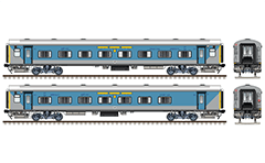 Vector illustration with side and front view of Indian passenger coach LHB - Linke Hofmann Busch type in livery blue-gray by Taj Express - JHS/Jhansi Junction to NZM/Hazrat Nizamuddin. EDITORIAL USE