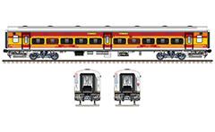Vector illustration with side and front view of upgraded Indian passenger coach Linke Hofmann Busch type used by train 16355/Kochuveli - Mangaluru Jn. Antyodaya Express. Realistic color drawing with many details and technical inscriptions. EDITORIAL USE