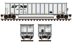 Side and front view of bethgon coalporter used by American NS Railway company. Freight car with aluminum body and twin longitudinal tube between the wheelers for unloading of ballast cargo. High-quality and color technical illustration with many details, inscriptions and shadows. EDITORIAL USE