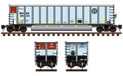Side and front view of bethgon coalporter used by American BNSF Railway company. Freight car with twin longitudinal tube between the wheelers for unloading of ballast cargo. High-quality technical vector illustration with many details, inscriptions and shadows. EDITORIAL USE