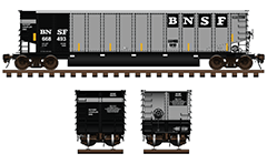 Side and front view of open top hopper used by American Burlington Northern Santa Fe Railway company. Freight car with aluminum body and twin longitudinal tubs for unloading of ballast cargo. Technical vector illustration with all details and inscriptions. EDITORIAL USE