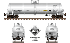 Side and front view of cistern DOT 111A100W-5 with volume 20 900 gallons. Car is painted in white livery and have a designation mark LLCX Incorporated. Details - all technical inscriptions and white-black placard with number 1778 - Class 8 Corrosive. EDITORIAL USE