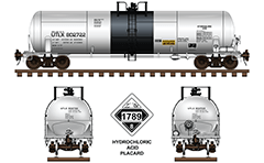 Side and front view of cistern DOT 111A100W-5 for transport of hydrochloric acid. The tank car is painted in white-black livery of UTLX company. Color drawing with all technical inscriptions and placard for dangerous goods with number 1789 - Class 8 Corrosive. EDITORIAL USE