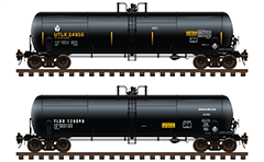 Set with two medium-sized cisterns DOT-111 ownership of Union Tank Car Company and General Electric Rail Services Corporation. Details - all technical inscriptions, marks and placards for hazardous goods with numbers 1830 and 1789 - Class 8 Corrosive. EDITORIAL USE