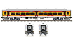 Side and front view of brand new Linke Hofmann Busch General Seat Car with wide windows, used by super fast Antyodaya train in 2018. Reporting mark - SR - Southern Railway zone of Indian Railways. High quality color drawing with all details and technical inscriptions in Hindi and English. EDITORIAL USE