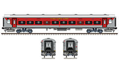Side and front view of brand new Linke Hofmann Busch sleeper car used by express train number 12947 from Azimabad to Patna during 2018 year. Reporting mark - WR - Western Railway zone of Indian Railways. High quality vector graphics with all details and technical inscriptions in Hindi and English. EDITORIAL USE