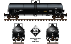 Train set with vector icons of American tank cars with designation DOT 111A100W3, DOT 111A100W-5 and DOT 112J340W. High-quality diagrams suitable for different infographic and engineering purposes.