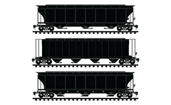Train set with side view of 3-bay and 4-bay covered hopper cars. High-quality illustration suitable for different infographic and engineering purposes.