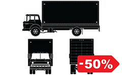 Vector set with truck for worldwide delivery service. Detailed side, front and back view. Illustration suitable for different infographic, web design and advertising purposes.
