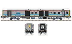"Side and front view with Indian ""Luggage, brake and generator car"" in colors of Gatimaan Express train by route plate Hazrat Nizamuddin - AGC/Agra Cantt. Modern LHB (Linke Hofmann Busch) generator car. High-quality color drawing with many details and technical inscriptions. EDITORIAL USE"