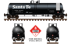 Side and front view with railroad cistern DOT 111 A 100 W 1 for transport of diesel. General service tank car 20,900 Gallon. Reporting mark ATSF and classical black painted livery. Color drawing with all technical inscriptions and signs for dangerous goods. EDITORIAL USE