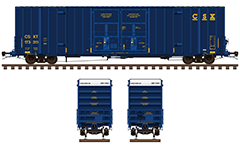 Side view of a North-American covered freight cars with additional height. The vans are ownership of Canadian National and Burlington Northern Santa Fe Railway company. High-quality vector image with all technical inscriptions and signs for service handling and unloading. EDITORIAL USE
