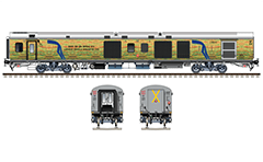 Side and front view of Indian EoG power coach. Linke Hofmann Busch van- Luggage, brake and generator car. Reporting mark ER - Eastern Railway zone of Indian Railways. EDITORIAL USE