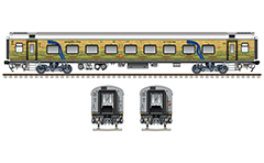 Vector image of Air-Conditioned 2 tier sleeper with 54 seats/berths. Reporting mark ER - Eastern Railway zone of Indian Railways. EDITORIAL USE
