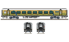 "Air-conditioned coach Linke Hofmann Busch in yellow-green livery with 78 seats. Details - CBC ""H"" couplers, FIAT bogies, tank bio toilets, brake equipment, battery box, ventilation and all technical inscriptions. Reporting mark ER - Eastern Railway zone of Indian Railways. EDITORIAL USE"