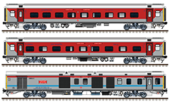 Side view with the rolling stock of train from SRC/Santragachi Junction to MAS/MGR Chennai Central. Composition with LHB coaches, Set 2: AC 2-tier car, First AC sleeper and EOG power car. Reporting mark SE - South Eastern Railway zone of Indian Railways. EDITORIAL USE