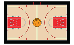 Vector illustration of the basketball court on team Chicago Bulls from NBA. Top view. The artwork is to scale and may be used as a template and easy to modify.