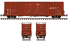 Vector illustration with long boxcar Gunderson type. Reporting mark BNSF and new logo of the company. Red livery with white endings. Side and front view with all technical inscriptions in English. EDITORIAL USE