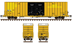 Side and front view with yellow cargo boxcar of Kansas City Southern Railway. Double plug doors system. Vector illustration with all technical inscriptions and signs for maintenance. EDITORIAL USE
