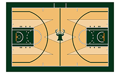 Top view of basketball court on team Мilwaukee bucks from NBA. Color vector graphic.