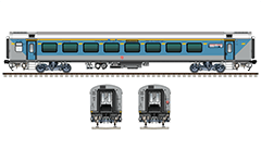 Side and front view with LHB executive class air-conditioned coach. Sky blue-gray livery with continuous yellow horizontal band and dashed lines- designation of daily high-speed train 12013. Reporting mark NR - Northern Railway zone of Indian Railways. EDITORIAL USE