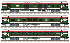Side view with rolling stock of international train connecting Bangladesh and India. Composition contain modern indian 2 EOG power vans, 4 AC sleepers (Class - 1A CC) and 4 AC chair cars. Green painted coaches with red-white stripes and reporting mark of BR - Bangladesh Railway. EDITORIAL USE