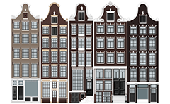 Illustration with four classic Dutch facades (gevels). From left to right respectively- Lijstgevel, Voorgevel in neostijlen, Trapgevel (Amsterdamse Renaissance stijl) and Klokgevel.