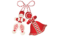 Vector illustration of Bulgarian martenitsa Pizho and Penda. Creative design of two small wool dolls made of white and red yarn. They are symbol of Bulgarian holiday Grandma March. Pizho is the white male doll. Penda is the red female doll and have a skirt. Traditional Bulgarian souvenirs.