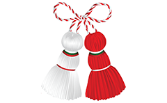 Vector illustration of stylized Bulgarian Martenitsa Pijo and Penda made from white and red wool yarn. They are decorated with tricolor ribbon of the Bulgarian national flag. Isolated objects over white background.