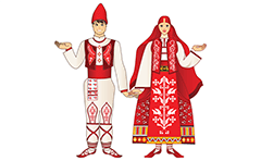 Couple dressed in traditional Bulgarian folklore costumes. Cartoon male and female dolls in colorful clothing with embroidery and ethno motives.