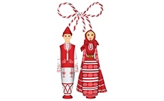 Vector illustration with wooden figures Pijo and Penda dressed in traditional Bulgarian costumes. Classic Bulgarian martenitsa from red-white yarn.Isolated objects over white background.