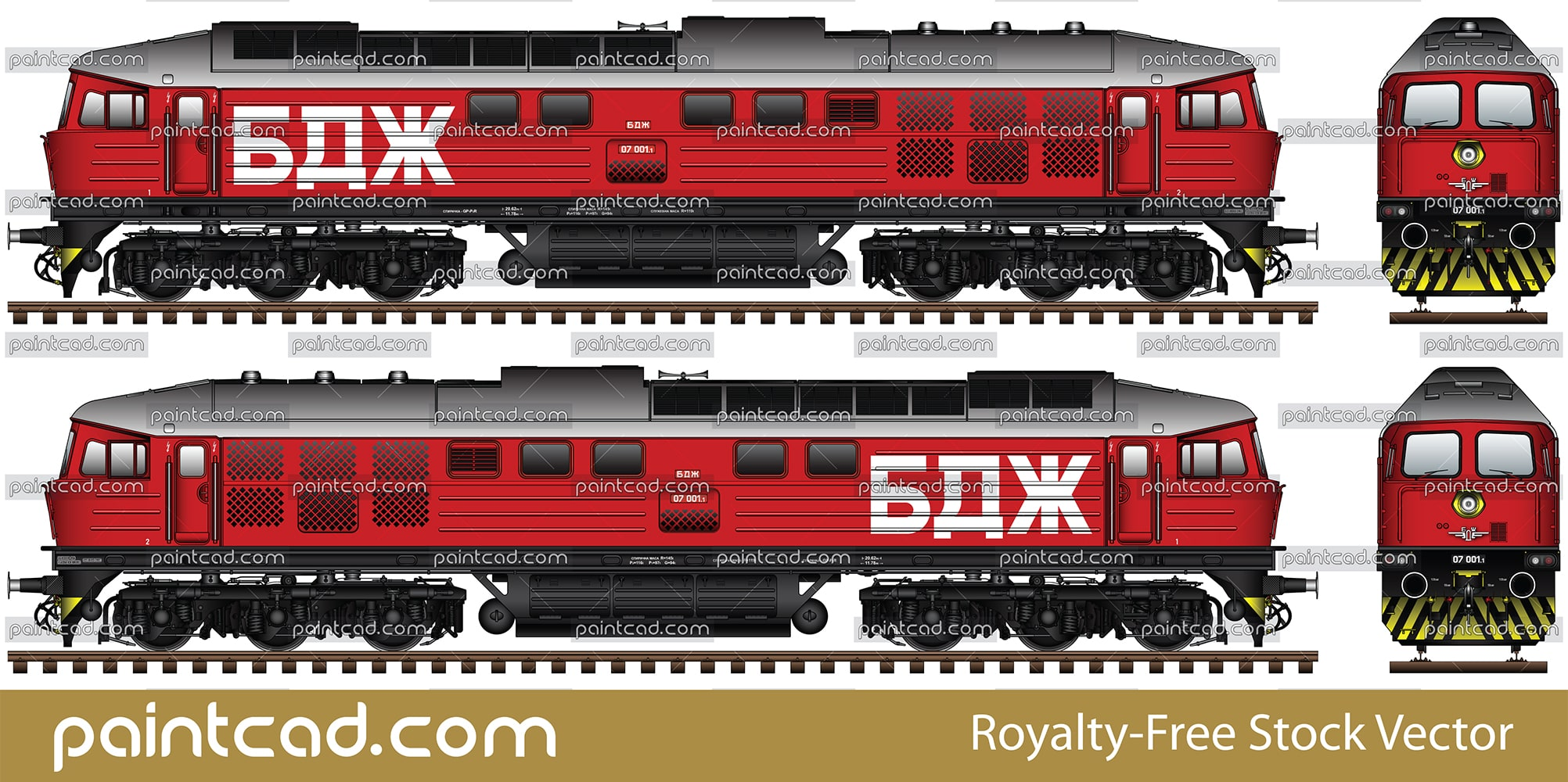 Soviet diesel-electric locomotive and passenger wagons - vector illustration