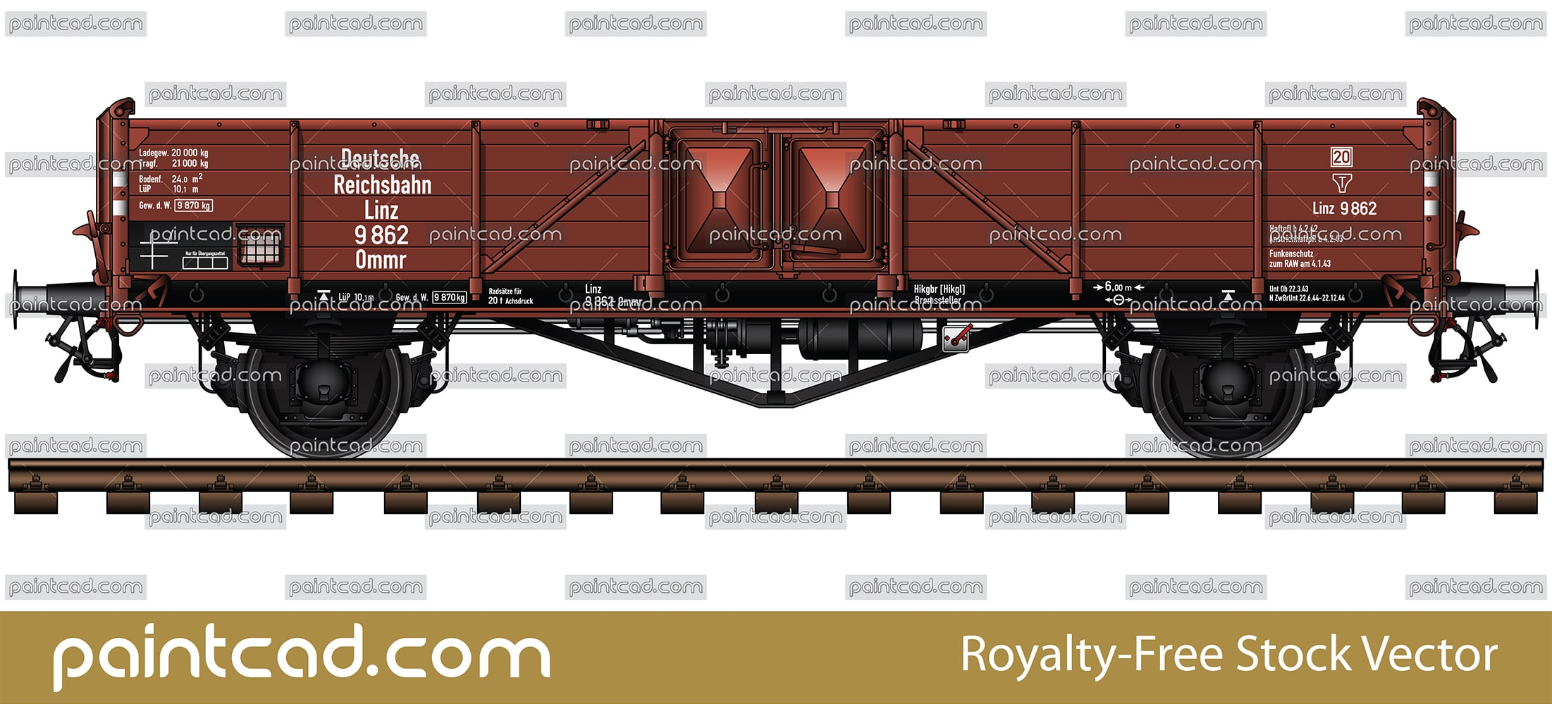 German open-top goods wagon Ommr Linz type from DRB era - vector illustration
