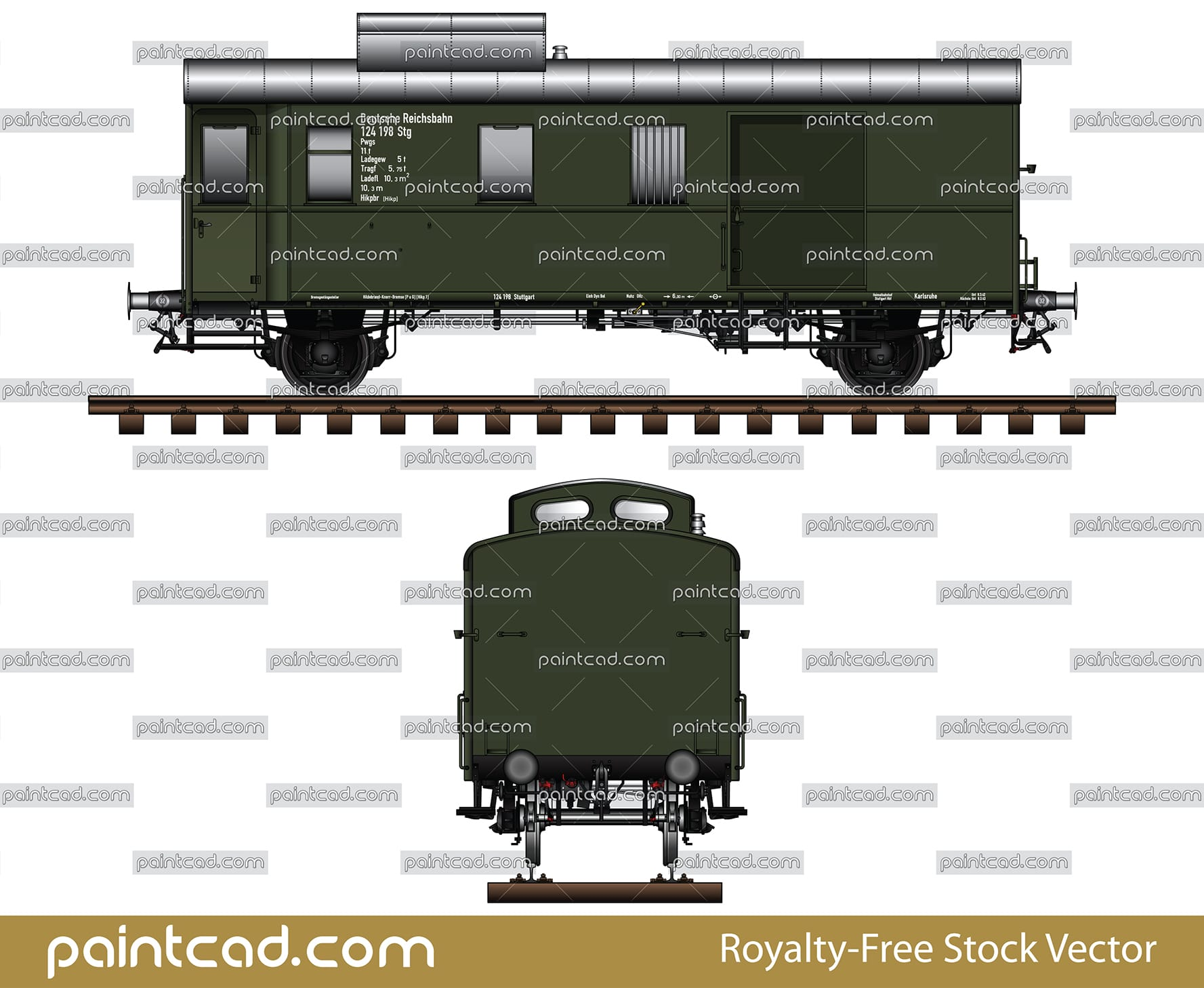 Postal railway wagon Pwgs-41 from Deutsche Reichsbahn era - vector illustration