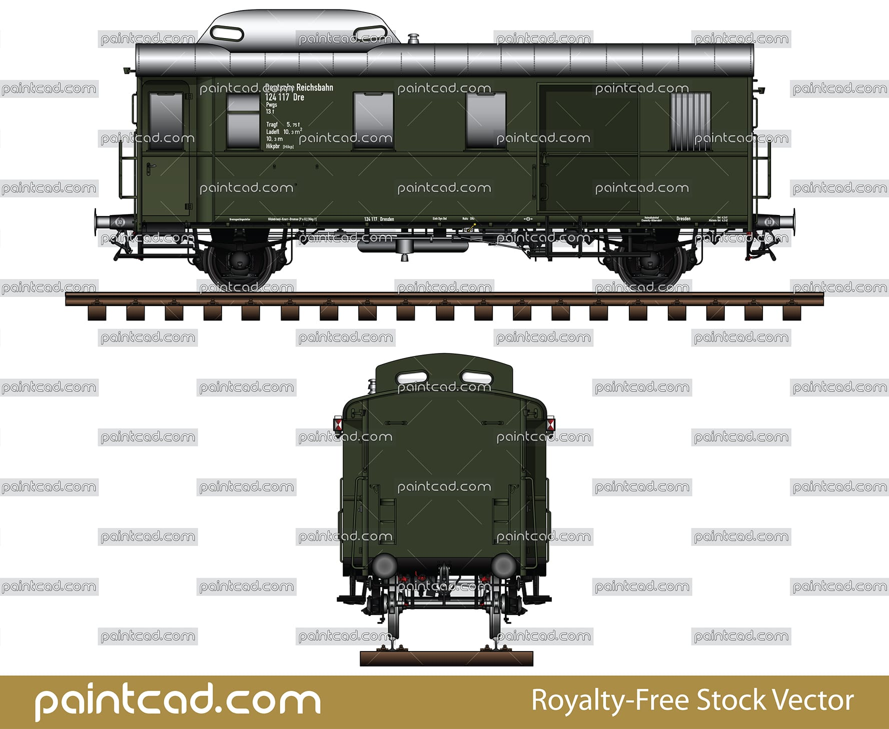 German postal wagon with signaling the end of the train - vector illustration