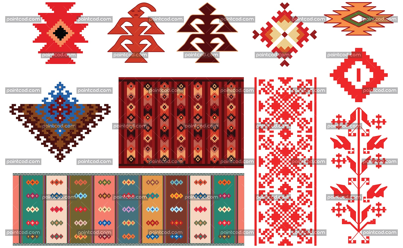 Design of traditional Bulgarian rugs and folklore elements - vector illustration