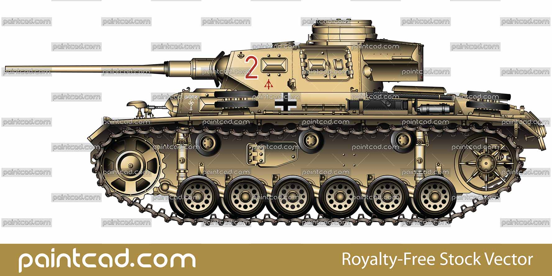 German Panzer III Ausf J used by Deutsches Afrikakorps DAK - vector illustration